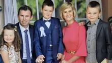 Niall O'Sullivan from Dromtariffe with his family. Niall was airlifted to the CUH by the ICRR air ambulance following a serious incident at this house last July
