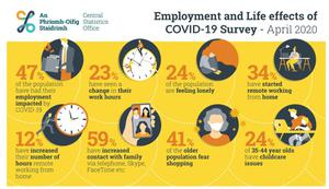 The CSO's Employment and Life Effects report used data based on more than 2,200 responses to its quarterly Labour Force Survey collected from households between April 8 and 23.