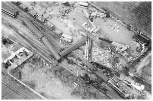 An aerial view of the debris strewn crash scene at Buttevant rail station