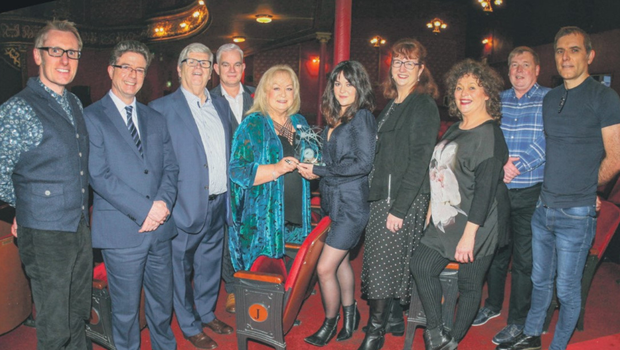 The January Cork Person of the Month Sarah Greene, being presented with her award by Catherine Mahon Buckley of CADA. Also pictured are (L-R): George Duggan, Cork Crystal; Mike Feely, Lexus Cork; Manus O'Callaghan, awards organiser; Thomas Morrissey, CAVS; Ann-Marie O'Sullivan, AM O'Sullivan PR; Fionnuala Linehan, Everyman Panto Star and Pat Lemasney & Philip Healy, Southern. Pic by Tony O'Connell Photography