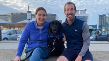 Trish O'Neill, her husband and their family dog