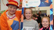 Siobhán and Niamh Willis, Mallow, with Caroline Ainslie of Bubbly Maths at last year's Munster Maths and Science Fair.