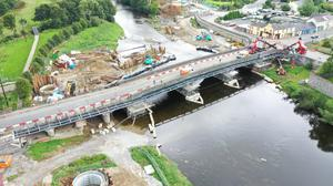 A birds-eye view of progress on installing the seven-section metal frame of the boardwalk, which a Cork County Council spokesperson likened to 'piecing together a giant meccano set'.