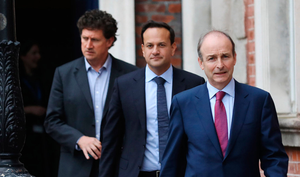 Taoiseach Micheál Martin, Tánaiste Leo Varadkar and Green Party leader Eamon Ryan. Will measures of the Government's stimulus package have positive impact in rural areas? Photo: Julian Behal