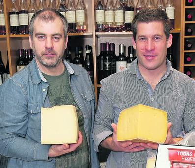 Sean Ferry and Toby Simmonds of Toons Bridge Dairy, Macroom at the Irish Food Writers' Guild Food Awards, L'Ecrivain Restaurant, Dublin. Photo: Paul Sherwood