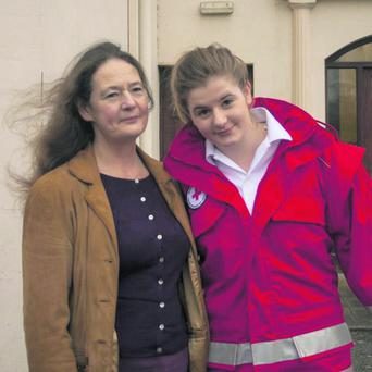 Jemma Dearden, (17) of Fermoy pictured with her mother Julie, at the spot where the incident took place. Photo: Basil O'Sullivan