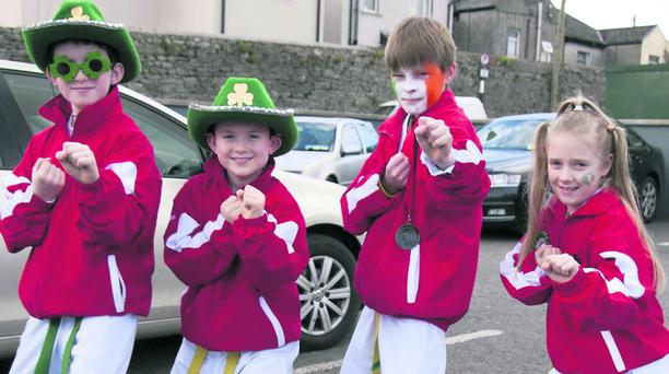 AJ Wheelan, Luke Wheelan, Niall Whelan and Leann Murphy from Mallow ITA who took part in Mallow St Patricks Day Parade last Sunday. Photo: Bernadette Hayes