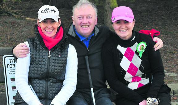 Gynne Comyn, Philip Comyn and Nicolette O' Mahony before playing in the J H Finn Jewellers competition last wekend.