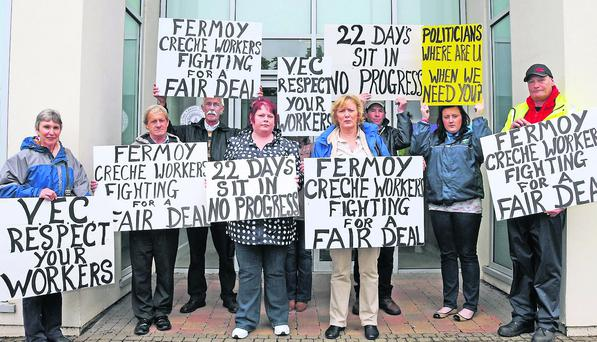 Fermoy crèche workers Paula Connolly, Tallow and Margaret Power, Kilworth, along with their supporters. Photo: Tom Doherty