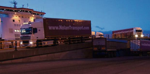 Dairygold hay imports rolling off the ferry at Rosslare last Monday night - by the end of this week 350 truck-loads, 6,000 tonnes will have been imported by the co-op.
