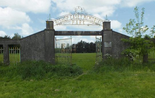 The shabby entrance to Bishop Casey Memorial GAA Park in the Town Park.