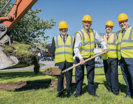 Pictured at the turning of the sod for the Paddy O'Keeffe Innovation Centre in Teagasc Moorepark this week were Professor Gerry Boyle, Director Teagasc, Michael Berkery, Chairman FBD, Conor Gouldson, Secretary FBD Trust & Dr Noel Cawley, Teagasc Chairman. Photo: O'Gorman Photography