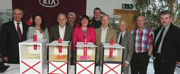 Pictured at the Cork GAA Clubs Draw in Millstreet were Con Hartnett, Norma Nagle, Pearse Murphy, Michael Healy, Sharon Lane, Michael Cleary, Martin Corcoran, John Coleman and Jerry Doody. Photo: John Tarrant