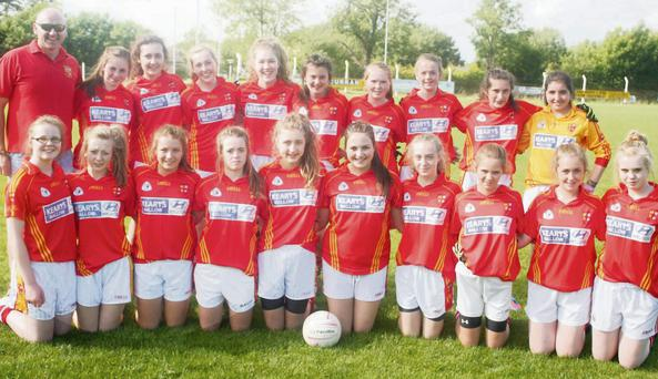 The U'/16 Non Exam Mallow Ladies Football team line out before their match with St. Peter's.