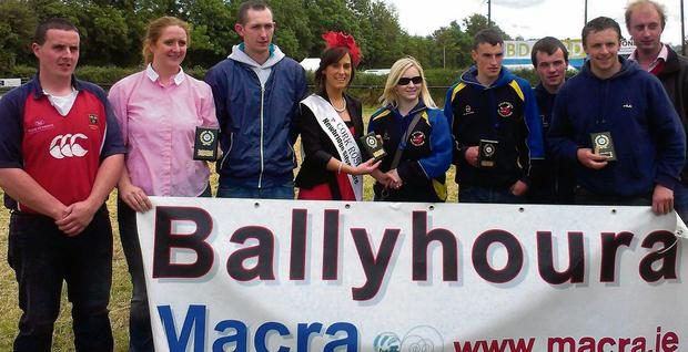 Ballyhoura Macra, Charleville Show Macra Challenge winners being awarded their trophies from current Cork Rose Edel Buckley and Pat Coakley, Avondhu Chairman.