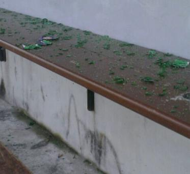 Smashed bottles in the dugout at the GAA pitch in the castle grounds in Macroom.