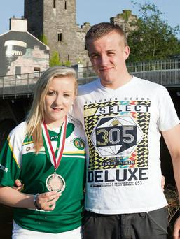 Big Hugs: European Bronze medal holder, Christina is congratulated by her twin brother Michael, who is also an Irish Champion boxer. (Picture: John Delea).