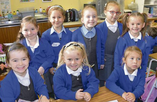 The eight girls who started in The Convent of Mercy Primary School Kanturk.