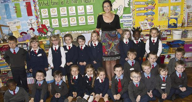 Ms Treasa Foley with her class Seomra 5 who all started at Scoil Iosagain in Mallow last Thursday.
