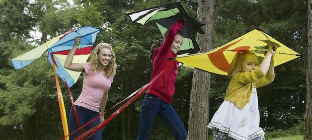 Kite fans Kate Barry, Aoife O'Connor, from Ovens, and Lily O'Sullivan, Midleton, all set for KiteFest at Millstreet Country Park on Sunday, September 22, for their very first charity KiteFest in aid of Breakthrough Cancer Research.