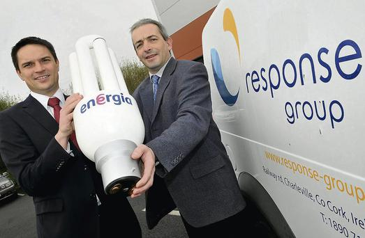 Aidan Brennan, Energia and John Knowles, Response Engineering, at the announcement of the new contract.
