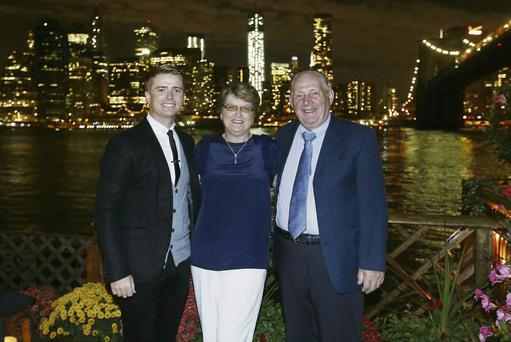 Kathleen Fitzpatrick and her husband Patrick from Ballyclough, Mallow enjoying their trip to New York with Big Money Game host Brian Ormond.