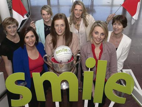 A winning team: (L-R) Mary Walsh (Cork City Council), Katherine Corkery (SMILE Exchange), Briege Corkery (Cork Ladies Footballer), Ann Marie Walsh (Cork Ladies Footballer), Juliette Murphy (Cork Ladies Footballer), Michelle Green, SMILE Exchange and Sharon Corcoran, Cork County Council.