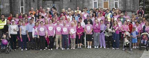 The group of walkers and runners who took part in the Pink Ribbon walk and run, which was organised in Charleville by Brendan and Ray Lee of the local Centra Stores last week.