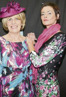 Joan Murphy and Ber Murphy attired in co-ordinating floral outfits at the Boherbue Fashion Show.