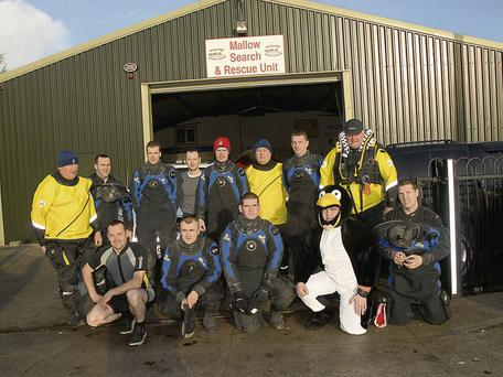 Members of Mallow Search and Rescue John Wolfe, JP Merritt, Gerry O'Sullivan, Kieran Horgan, Gavin Walsh, Ger Hannan David O'Donoughue, Brain Flynn, Trevor O'Callaghan, Paul Foley, Don Mc Aulliffe, Bernard Gavin and Paul Ahern who took part in there annual Christmas swim in the river Blackwater Mallow.