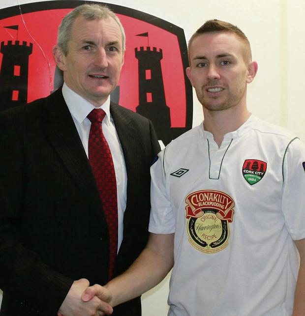 'Conna Maradona' Liam Kearney being welcomed to Cork City FC by club manager John Caulfield.