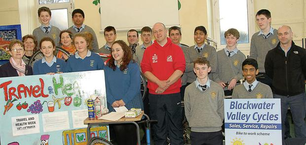 Fiona Barry of An Taisce, principle of Patrician Aacademy Catherine Fitzpatrick, teachers Regina Glynn and Micheal McAuliffe, Fergal Hogan of Blackwater Valley Cycles, student counsel rep from St Marys School Mallow and student counsel organisers of the Travel and Health week at the Patrician Academy on Tuesday. Photo by Bernadette Hayes