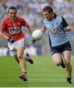 Cork's John O'Rourke might expect to come up against Dublin defender Jack McCaffrey again on Saturday night. Picture: Sportsfile