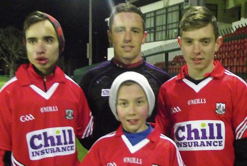 Eoin Fenton, Cork hurler Anthony Nash, Lorcan Finn and Oisin Fenton