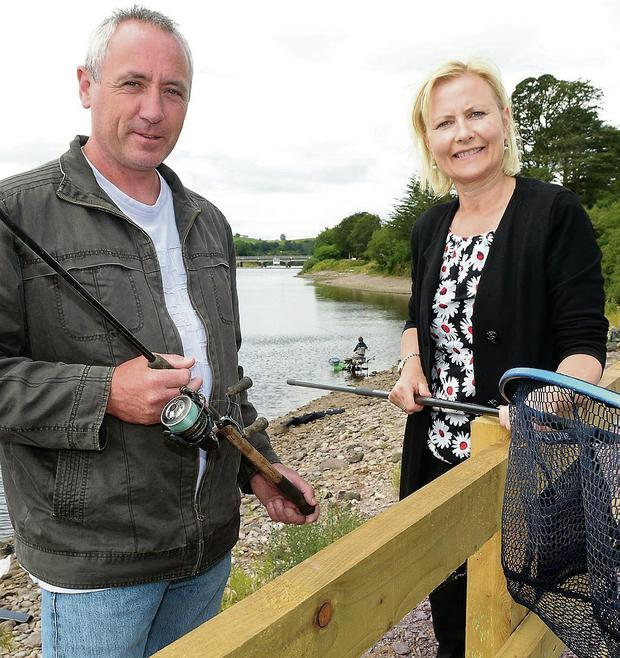 Tommy Lawton, event organiser and Margaret Kelleher ESB, who are facilitating the event on ESB land, at the launch on Inniscarra Reservoir. Photo: John Sheehan Photography.