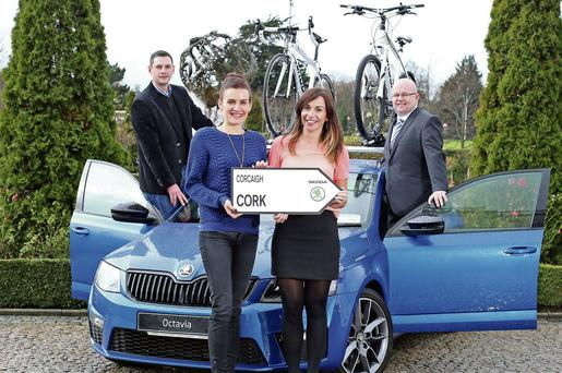 Ready for road in the Duhallow Sportive are Connie Tarrant (left) from E Tarrant & Sons Skoda, Banteer, Triona Murphy and Eileen Linehan from IRD Duhallow and Billy Mangan of The Corkman.