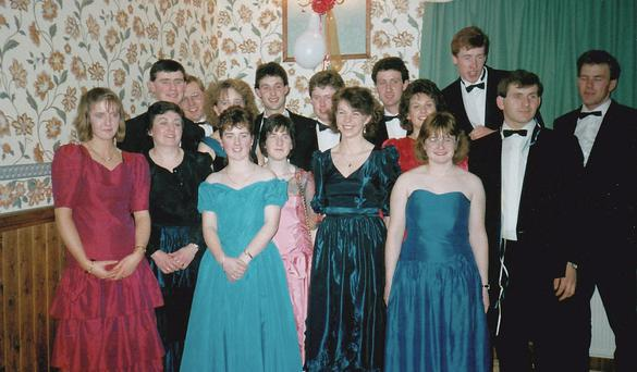 Reeling in the years! Glanworth Macra members, pictured at an Avondhu Macra Dinner Dance in the 1980s. Glanworth is an area Ballyhoura Macra now covers.