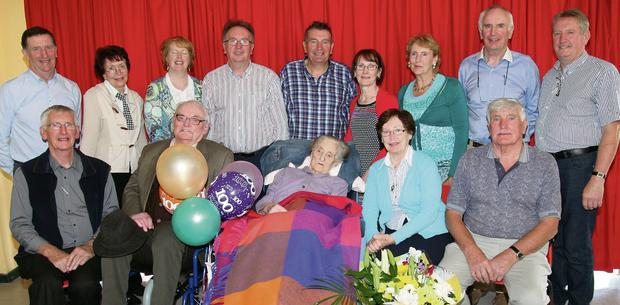 Mary O'Riordan with brother Eugene and her sons and daughters at her 100th birthday party which she celebrated with family and friends at Nazareth House, Dromahane