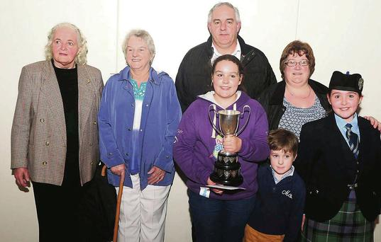 All-Ireland Fleadh Cheoil winner Maggie Moynihan with parents Patricia and John along with family members Humphrey, Anna, Kathleen and Maureen Shanahan at a reception in Cullen Community Centre