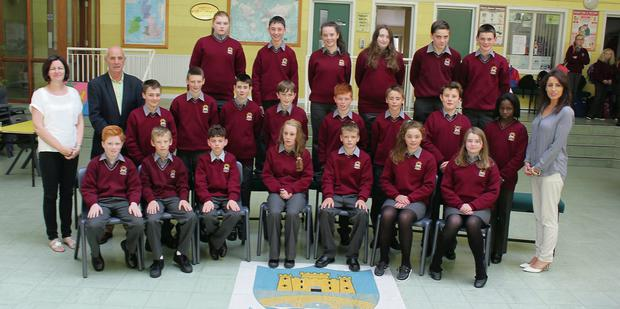 Davis College's first year class Rang Sorcha with class teacher Mr Sheehan, year head Ms C O'Callaghan and academic tutor Ms W Daly