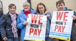 Elizabeth Murphy, Noreen Walsh, Evelyn Sheehan and Maragret Murphy who took part in the march against Water Chargers in Mallow last Saturday. Photo by Bernadette Hayes