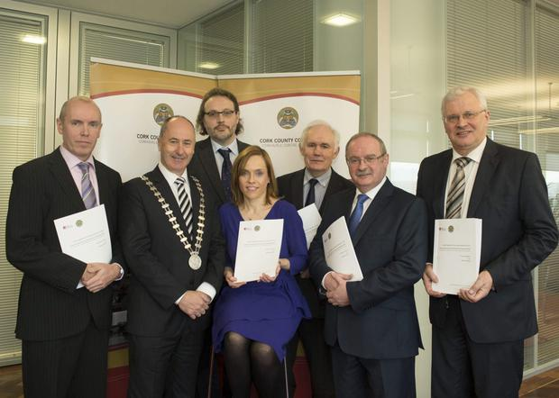 At the launch of the report on the Future Expansion of the Dairy Industy in Cork at the County Hall were (left to right): Tim Lucey, Chief Executive, Cork County Council, Cllr. Alan Coleman, Mayor of the County of Cork, Dr. Donal O'Connor, Áine Ní Shé, Head of Dept. of Mathematics, CIT, Dr. Michael Keane, James Fogarty, Divisioanl Manager, Cork County Council and Tom Stritch, Divisional Manager, Cork County Council