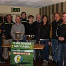 At the launch of this year's Clyda Rovers Golf Classic were, from left: Cian OSullivan (Clyda Hurling Captain),John Roche (Organiser),Fergal Cronin ( Chairman ),Ray Carey ( Clyda Football Captain ) Doreen Murphy & Derry Murphy( Sponsors),Ciara OSullivan ( Cork Ladies Football Captain), Jimmy McGlinchey ( Treasurer), Noel Walsh