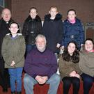 A group of the senior pupils from Ballydesmond National School who took part in the Sing for Africa fundraiser in St. Patrick's Church, Ballydesmond, last weekend, pictured with Fr. Martin McCormack and Fr. Joe Tarrant PP. Photo by Sheila Fitzgerald