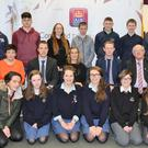 Students from Davis College, Patrician Academy, St. Mary's, and Nagle Rice, pictured at the Mallow & District Sports and Leisure Awards Youth Nominees Event at AIB in Mallow, with Cork footballer Colm O' Neill, Kerry footballer Colm 'the Gooch' Cooper, Noreen Walsh (Manager AIB Mallow), Chris Tanner (PRO Mallow & District Sports & Leisure Council, Liam Ware (Chairman), Sean Leahy (Treasurer), Bridie Murphy and Róisín Moriarty (Committee Members). The Youth Nominees Awards are sponsored by AIB. Photo by Sheila Fitzgerald