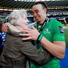 Kerry's Ultan Dillane, one of the new breed of star players emerging from the Connacht set-up, embraces his mother Ellen at Murrayfield Stadium in Edinburgh on Saturday after the Tralee man helped Connacht to their first Pro 12 league title with a comprehensive and historic win over Leinster. Photo INPHO/James Crombie