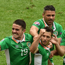 Wes Hoolahan (centre), celebrates after scoring Ireland's goal against Sweden with team-mates Robbie Brady, Jon Walters and Shane Long during Ireland's opener against Sweden on Monday night. Photo by Sportsfile