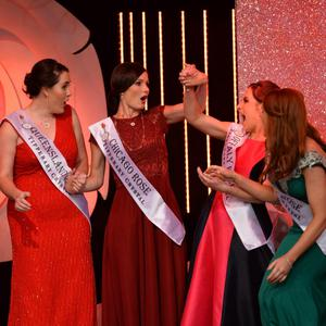 Rose of Tralee winner Maggie McEldowney from Chicago is congratulated by this year's team of Roses at the Dome in Tralee on Tuesday night. Photo by Domnick Walsh