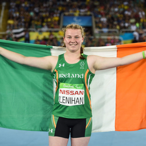 Noelle Lenihan celebrates winning bronze after the F38 Discus Final at the 2016 Paralympic Games in Rio de Janeiro. Photo by Diarmuid Greene/Sportsfile