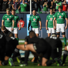 Ireland players, including captain Rory Best, centre, face the New Zealand 'Haka' ahead of the international rugby match between Ireland and New Zealand at Soldier Field in Chicago